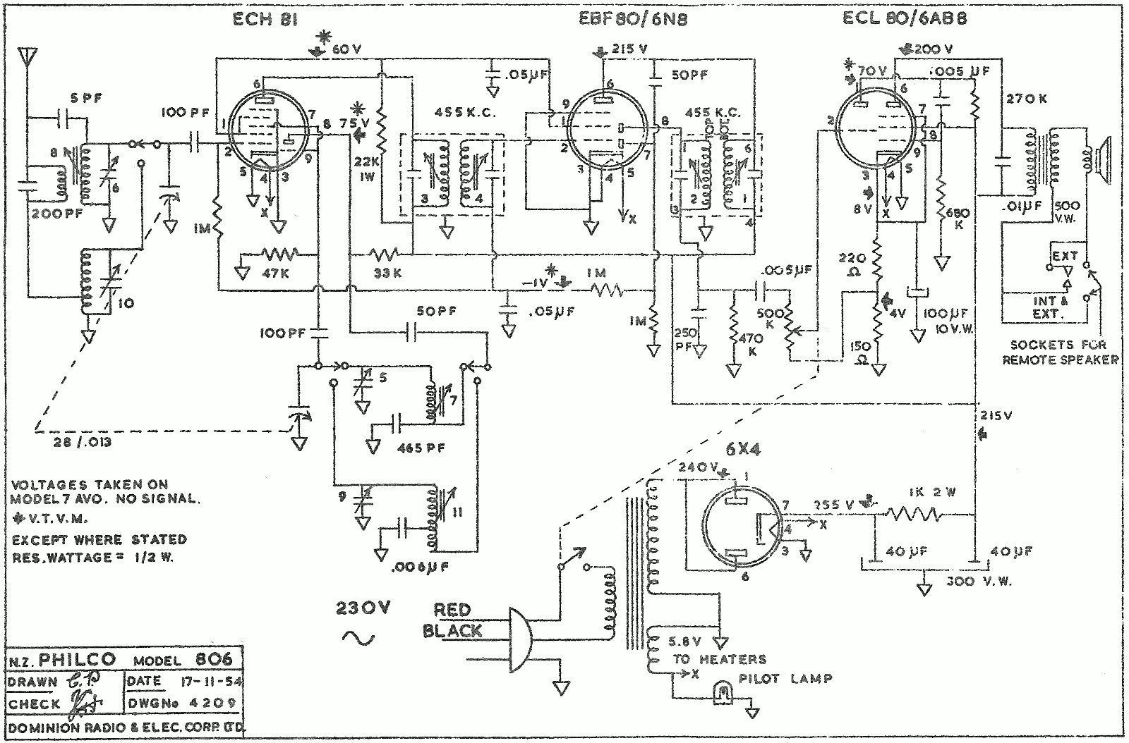 1954 Philco model 806 schematic