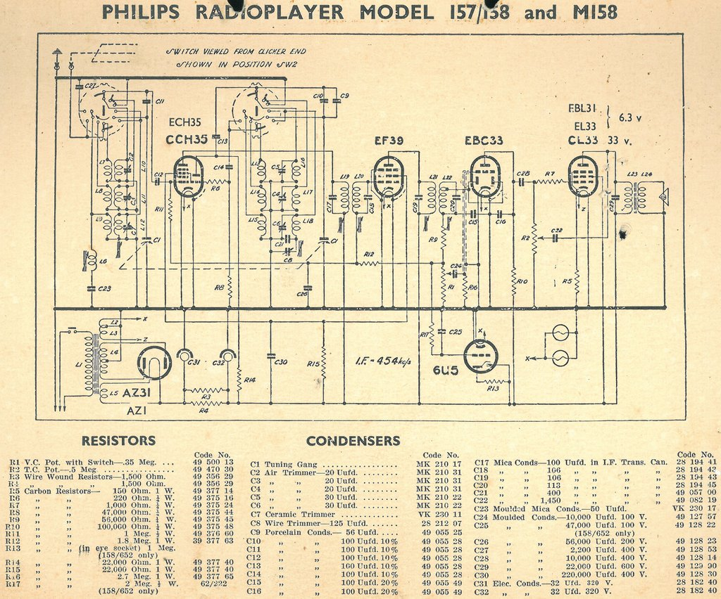 Philips NZ model 157 and 158 and Mullard 542 Schematic