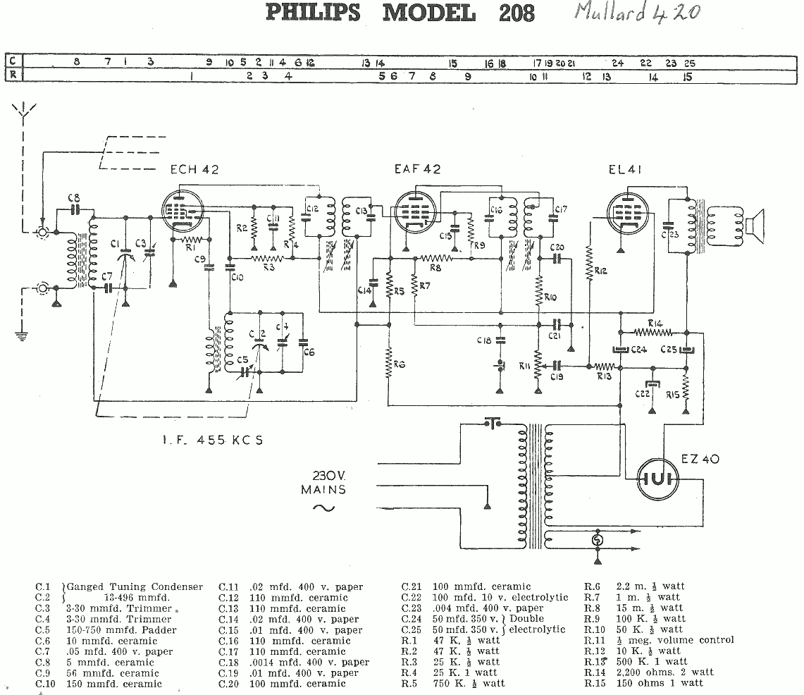 1950 Philips model 208 Schematic