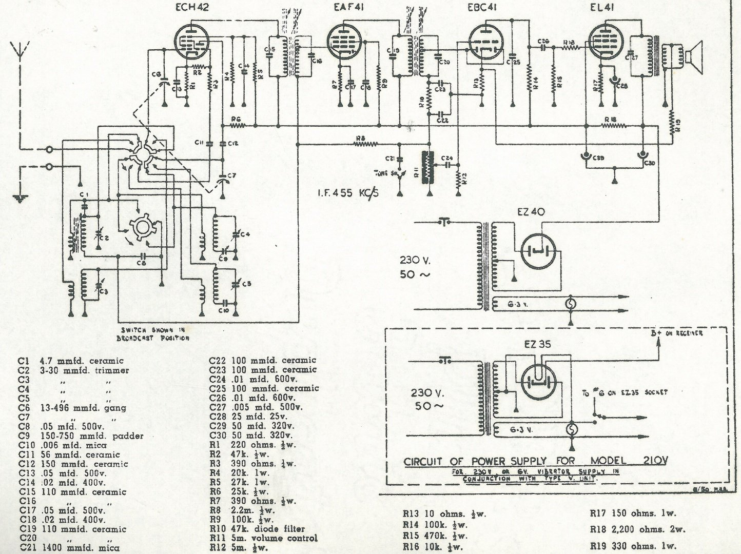 1950 Philips NZ model 210 and 210V Schematic