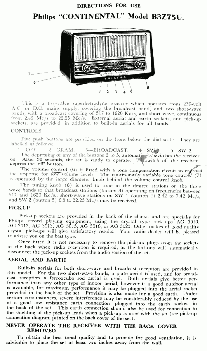 1958 Philips B3Z75U Instructions