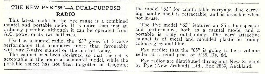 Pye PZ65MBQ Product Announcement, Radio and Electronics March 1954