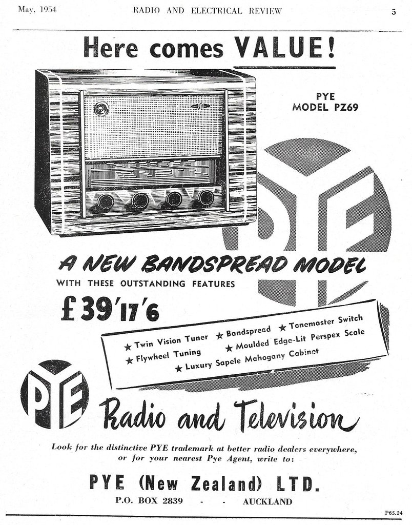 Pye PZ69 Advert, R&E May 1954
