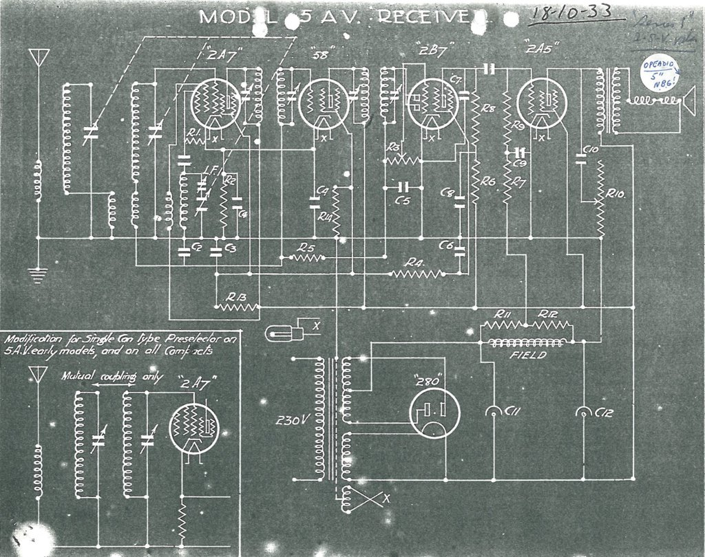 1933 5AV & Radion Little Aristocrat Schematic