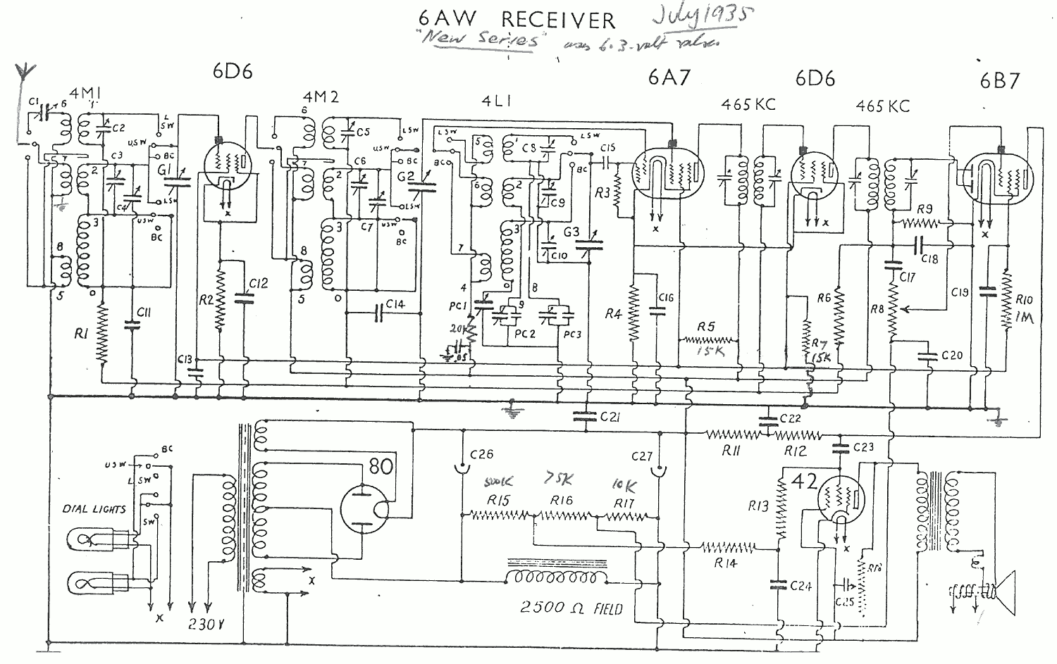 1935 Collier and Beale State - Radion - Etc model 6AW new version schematic