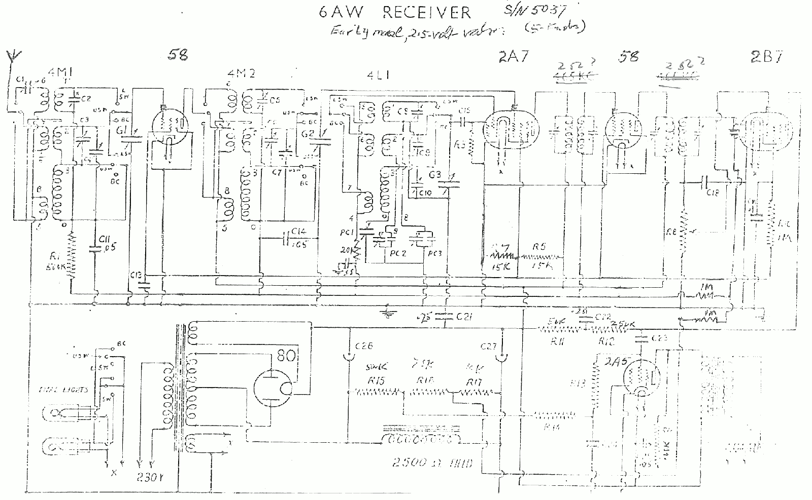 1935 Collier and Beale State - Radion - Etc model 6AW original version schematic