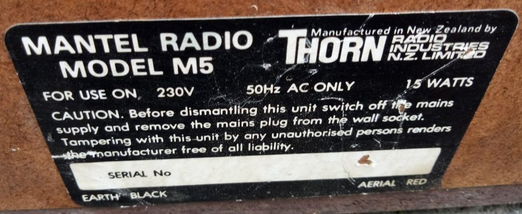 NZ Vintage Radio - 1965 Thorn M5