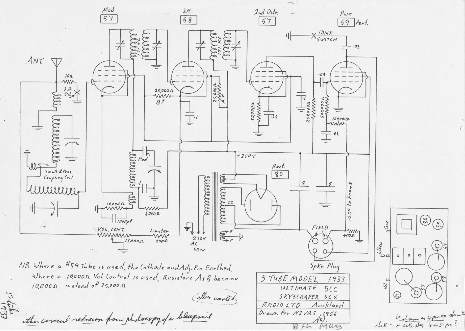 1933 Ultimate chassis code 5CC or 5CX schematic