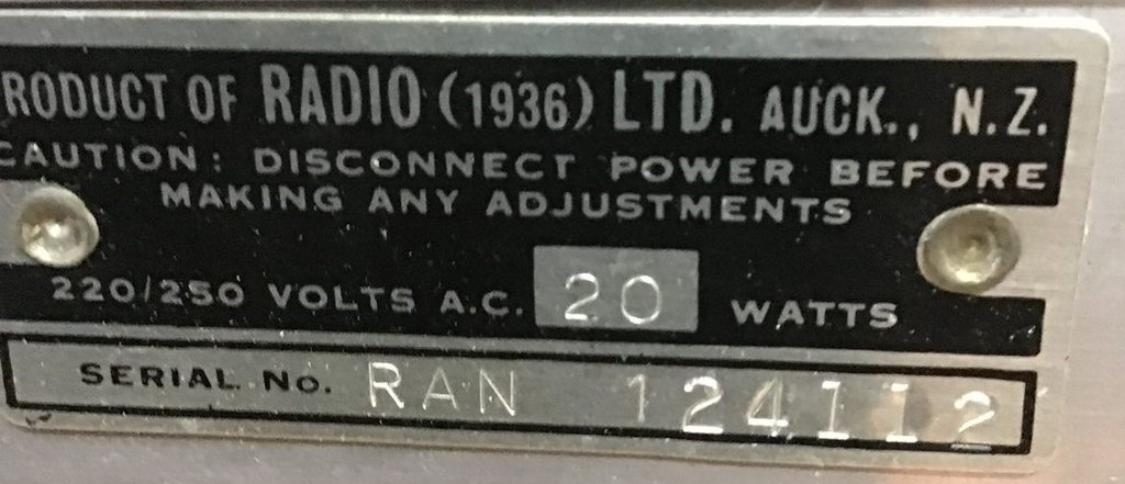 NZ Vintage Radio - 1949 Ultimate RAN
