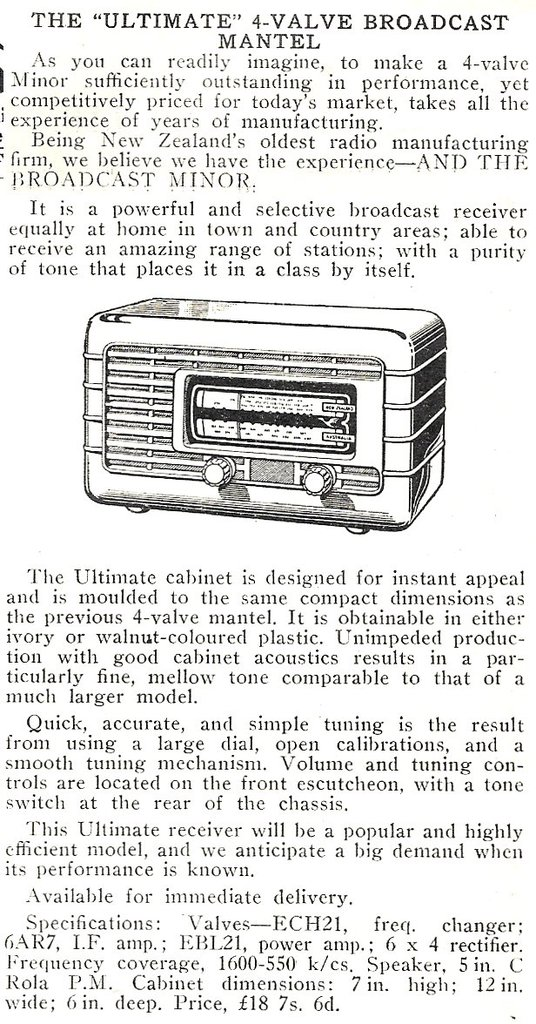 Ultimate RBZ Minor - 4 Valve Broadcast Set - product release notice from Radio and Electronics, Jan 1954
