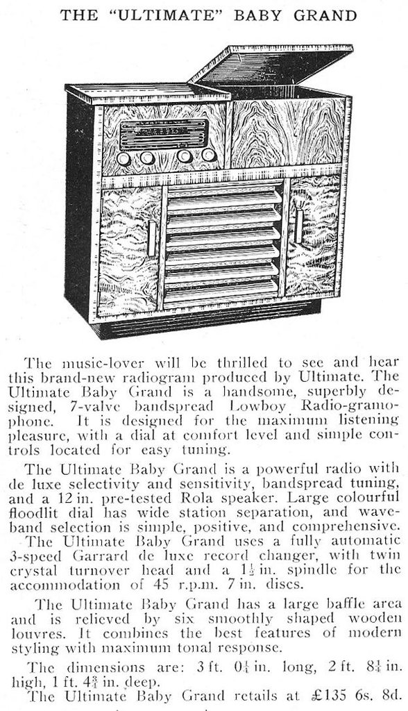 Ultimate RCE Baby Grand Radiogram - announcement in Radio and Electrical Review, June 1954